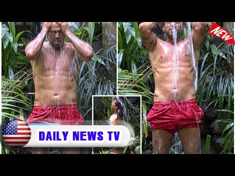 I'm a celebrity's jamie lomas reveals enormous bulge in his trunks as he enjoys a jungle shower wit