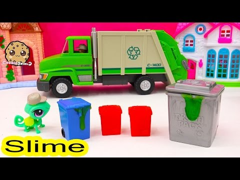 Trash Pack Blind Bags Cans With Sticky SLIME Ooze Surprise Toy Unboxing Video Cookieswirlc