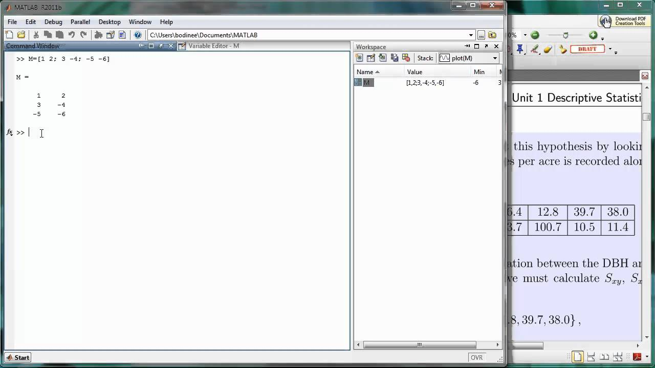 Matlab arrays 02 creating a 2d array youtube for Table 2 matrix matlab