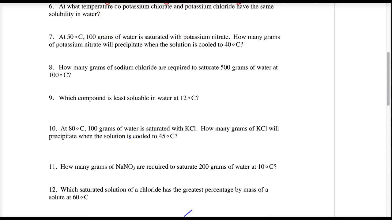 Lecture 3.3 - Table G - Solubility Curves worksheet - YouTube