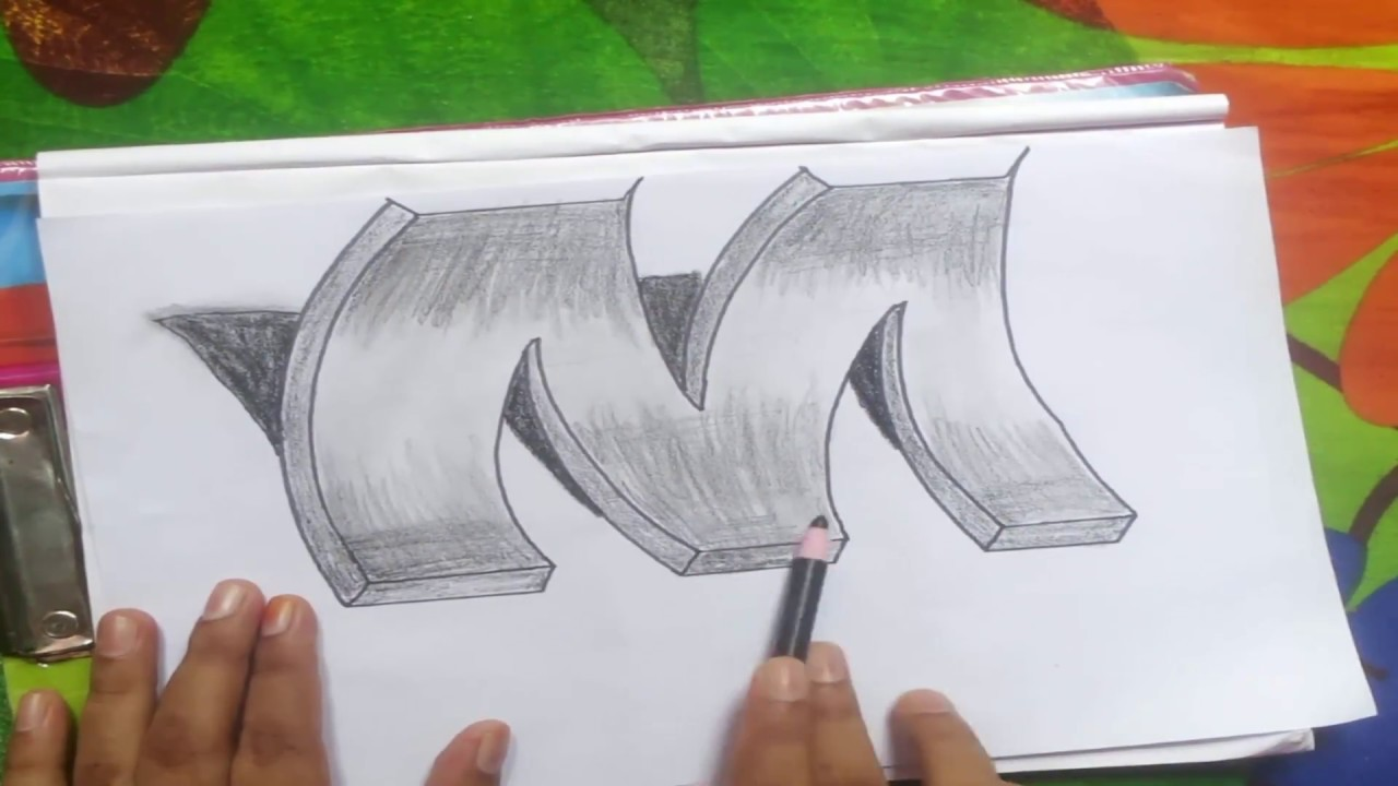 How To Draw 3d Alphabet Letter M On Paper Youtube