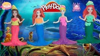 Принцессы Диснея превращаются в русалочек Плей до на русском Play Doh Dress Up Mermaids