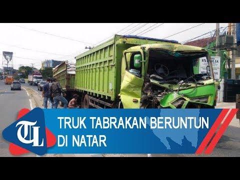 Truk Tabrakan Beruntun Di Natar | Tribun Lampung News Video