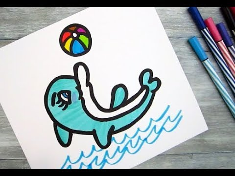 How to turn Number 23 into a Cartoon DOLPHIN ! Fun with Number Drawing for kids