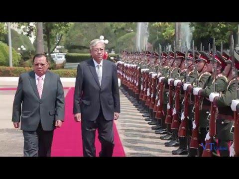 President Bounnhang Vorachit this morning welcomed Myanmar President U Htin Kyaw