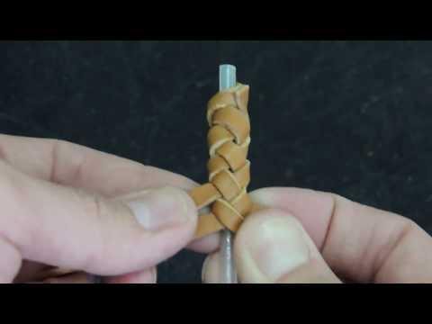 Плетение из четырех полос кожи. Оплетка кожей круглого шнура.