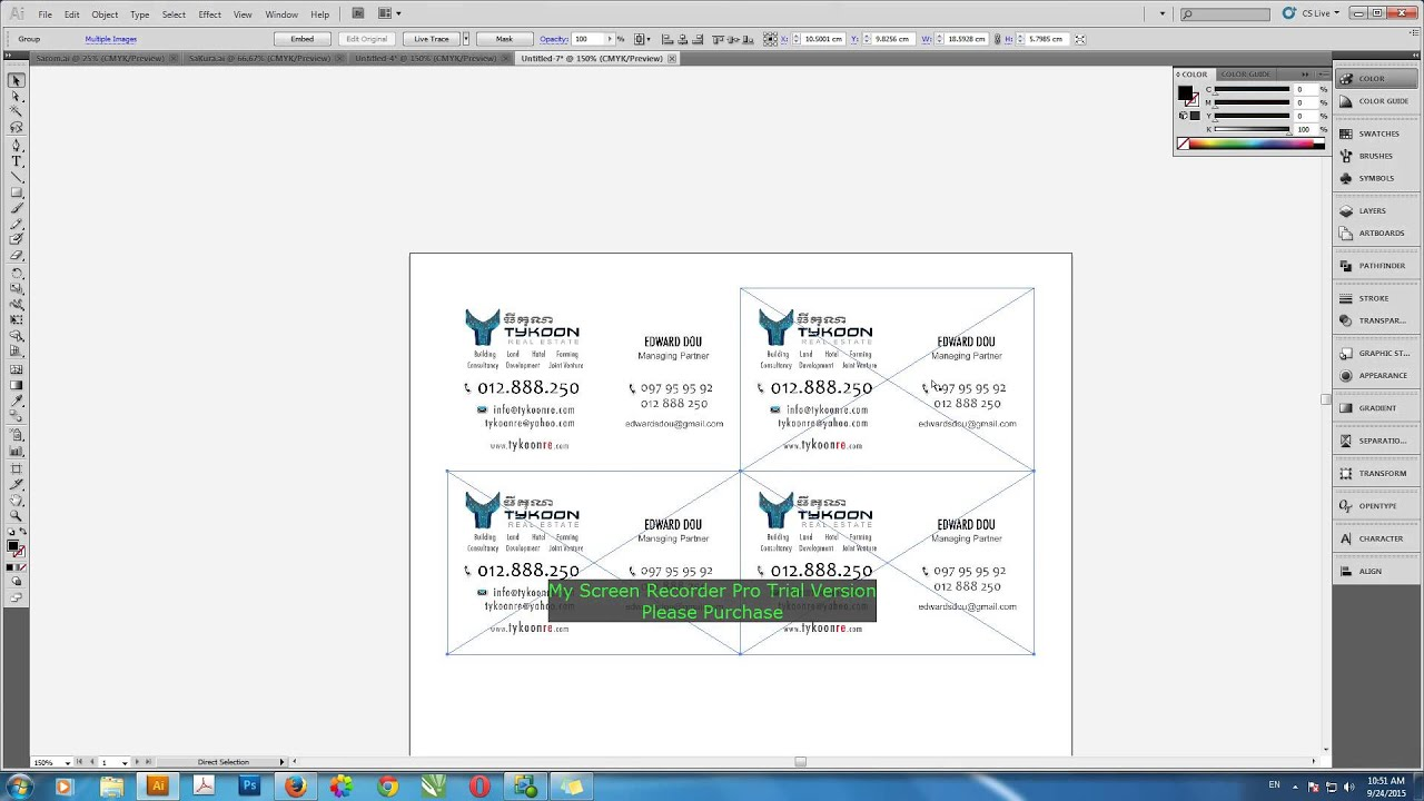 how to printing business cards in illustrator youtube
