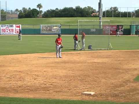 Pete Kozma Arizona Fall League Infield Practice 10/15/10