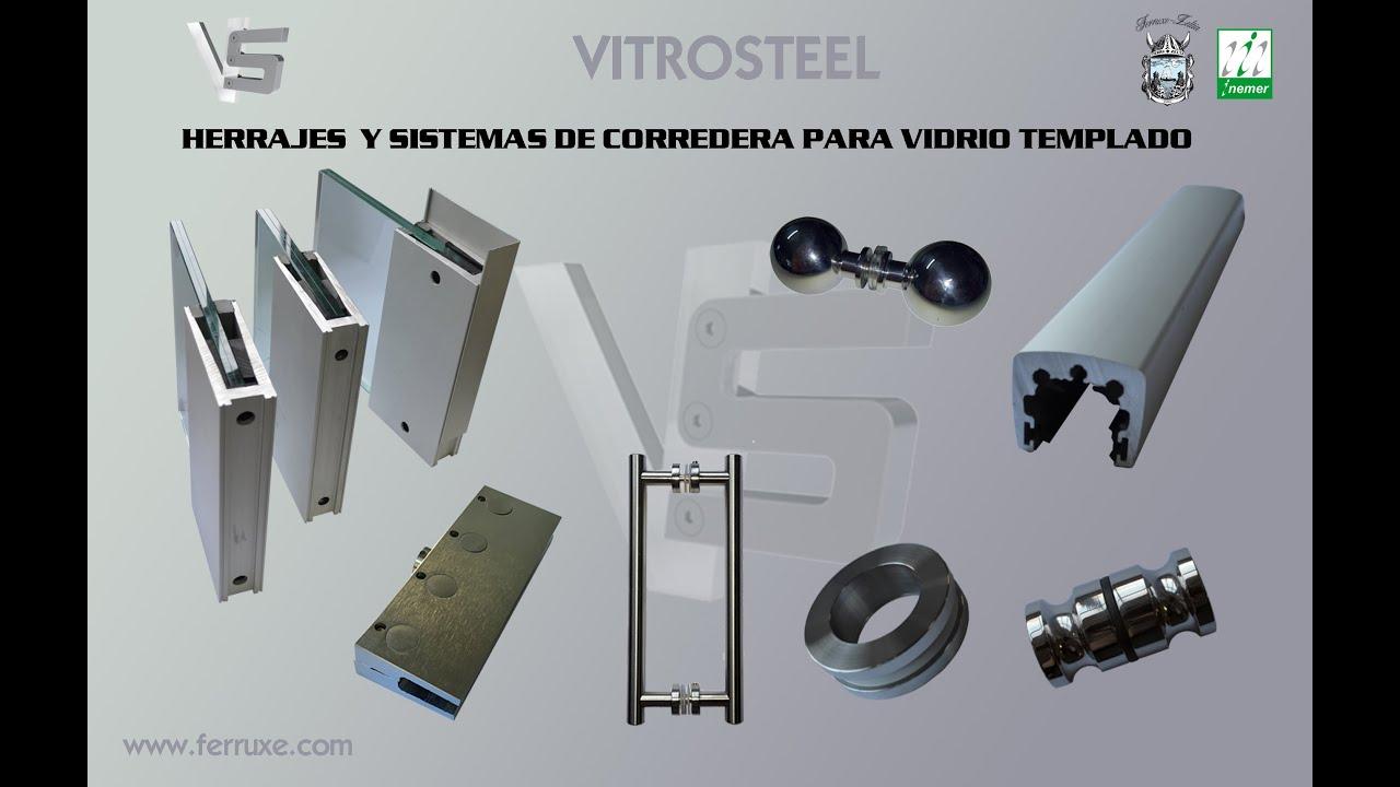 Vitrosteel herrajes para vidrio ferruxe youtube for Herrajes puertas cristal