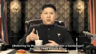 kim jong un 김정은 金正恩 impersonator lookalike eats mcdonalds hamburger nukes the usa