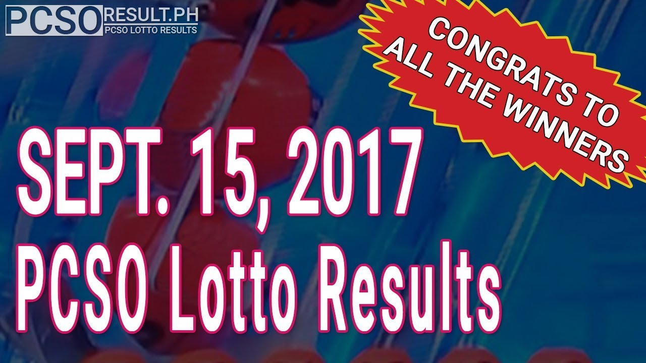 PCSO Lotto Results Today September 15, 2017 (6/58, 6/45, 4D, Swertres & EZ2) - YouTube