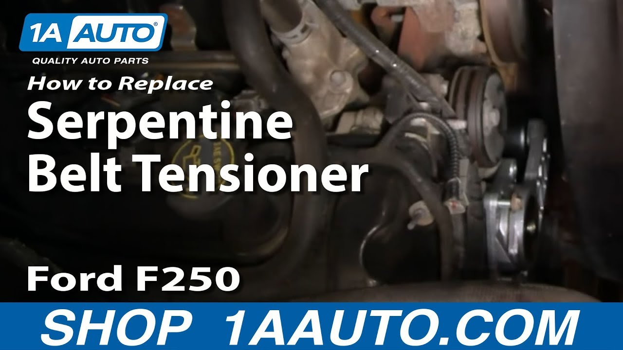 how to replace serpentine belt tensioner 99 04 ford f250 super duty truck [ 1280 x 720 Pixel ]