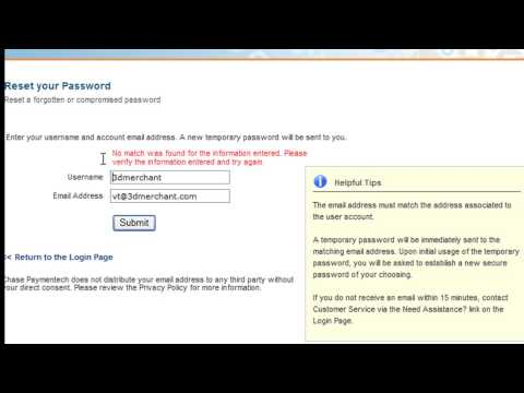 Chase Paymentech Resource Online login troubleshooting