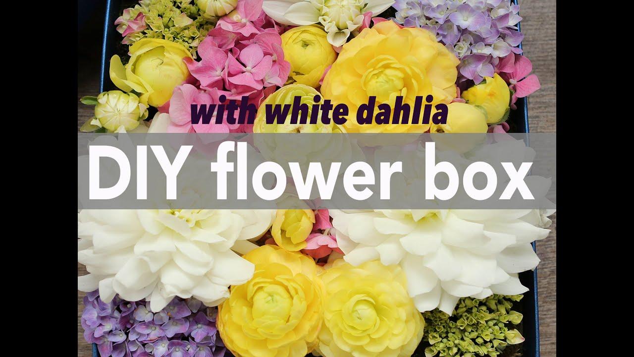 How to arrange a flower box with dahlia ranunculus & hydrangea