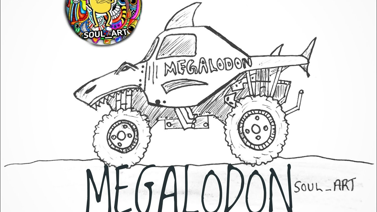 DRAWING MEGALODON THE MONSTER TRUCK   STEP BY STEP   EASY METHOD ...