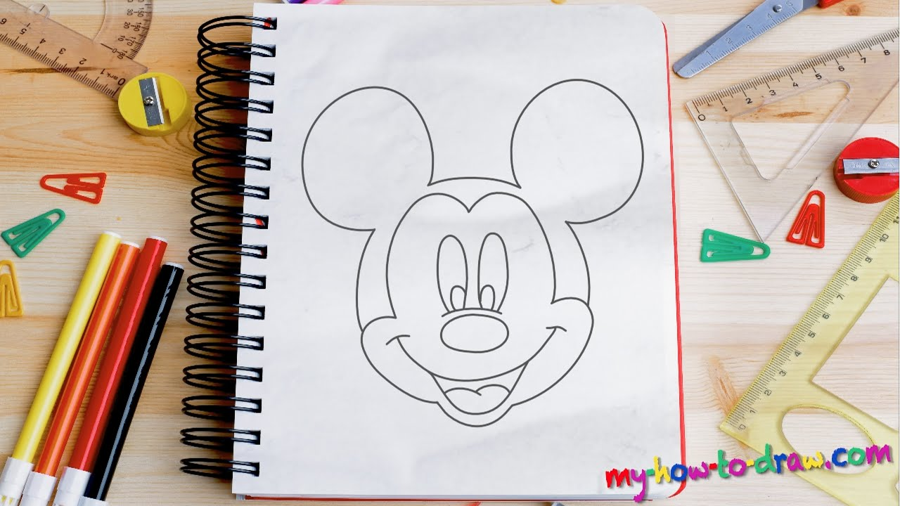 How to draw Mickey Mouse - Easy step-by-step drawing ...