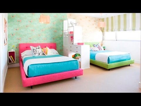 Cute twin bedroom design with double bed for girls room for Double bed design photos