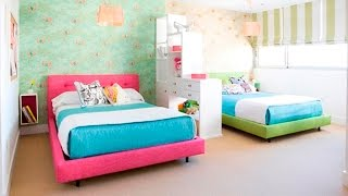 Cute Twin Bedroom Design with Double Bed for Girls Room - Room Ideas