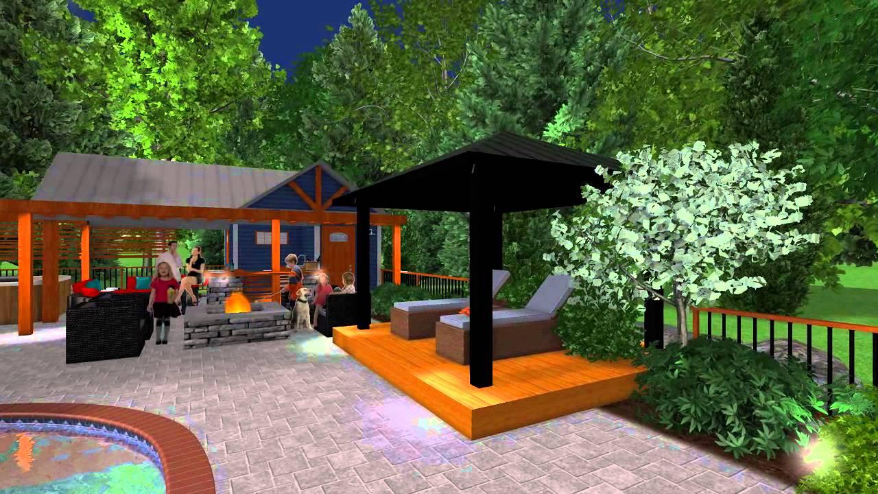 clairage d 39 ambiance d 39 une cour arri re par tania. Black Bedroom Furniture Sets. Home Design Ideas