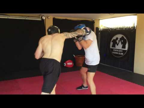 Perth City Boxing Club - Sparring - Travis Bowran and Lewis Whitelaw