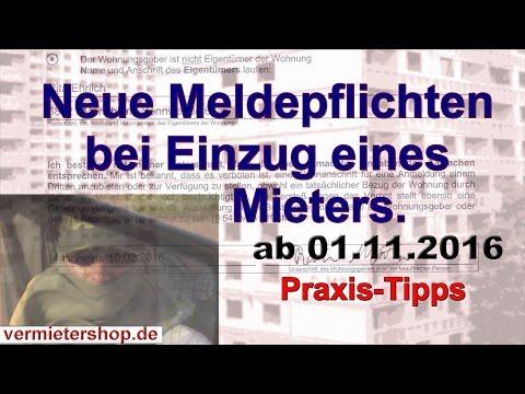 Wohnungsgeberbestätigung. Geänderte Meldepflichten ab 01.11.2016, Bußgeld droht. - Vermietershop.de