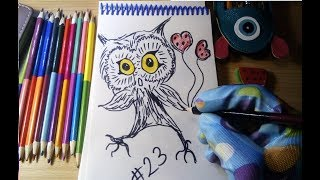 simple drawing / простые рисунки #23 Сова. Рисуем  вместе с вами