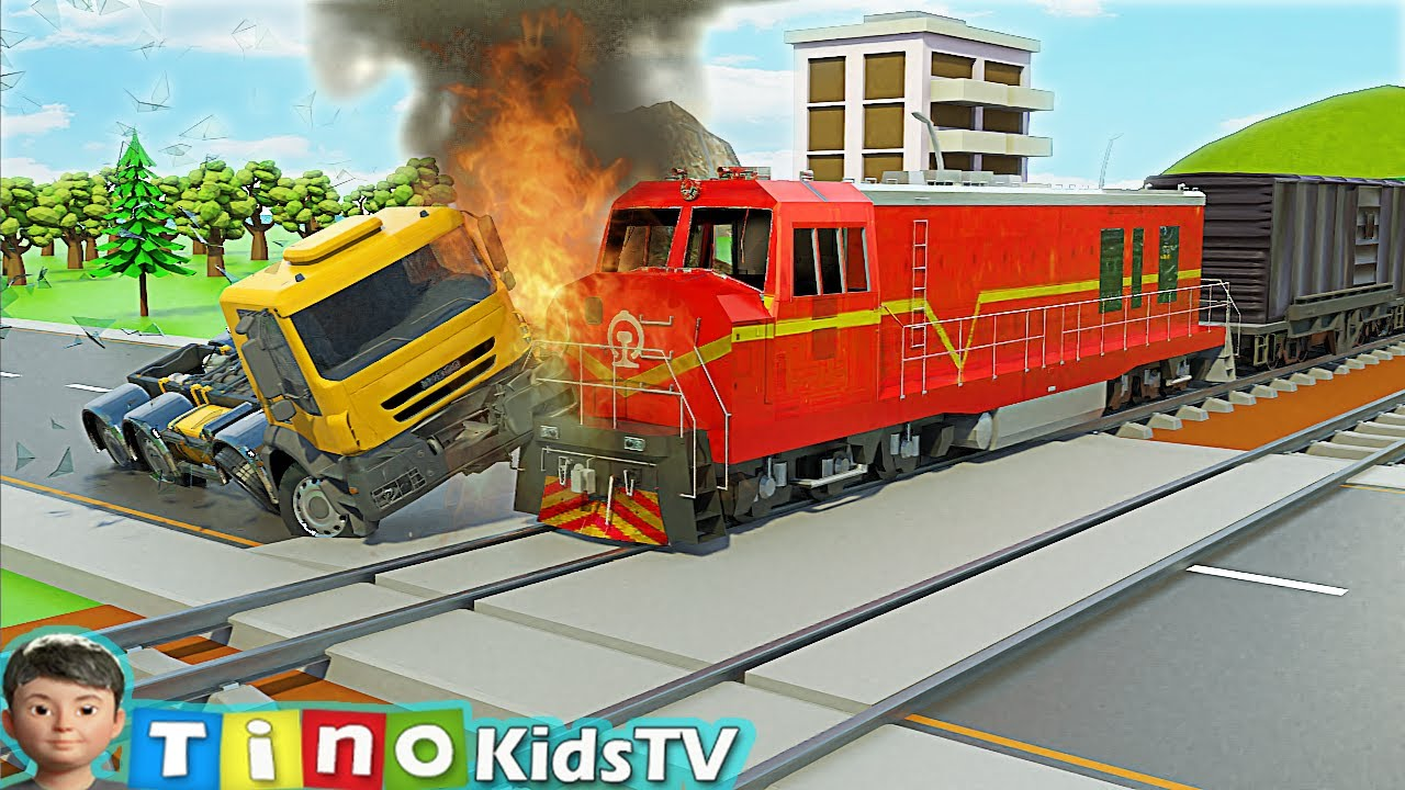 Tow Truck and Mini Excavator Truck for Kids   Railroad Crossing Construction