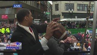 Patriots Super Bowl Parade: Steve Burton Completes Pass To Tom Brady
