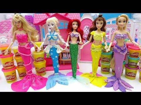 Thumbnail: Disney Princess Play-Doh Mermaid Costume Dress UP Frozen Rapunzel Belle Aurora Learn Colors with DIY
