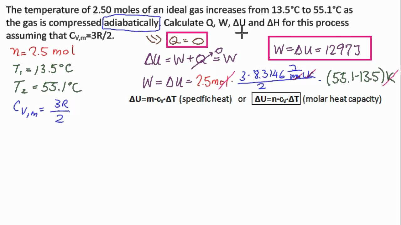 the change in internal energy of a gas through the equation u q w 1 cylinder contains 01 mol of ideal gas at a pressure of 2 atm and temperature of 300 k the volume of the cylinder is 125 x 10^-3 m3 when the gas is heated from 300k to 350k, what is the change in internal energy of the gas ---(i think the equation is q=delta u + w but i don't know how to.