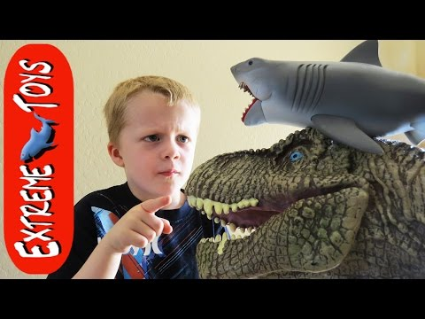 Kitchen Trouble! Jaws Shark Toy and T-Rex Toy Make a Big Mess!