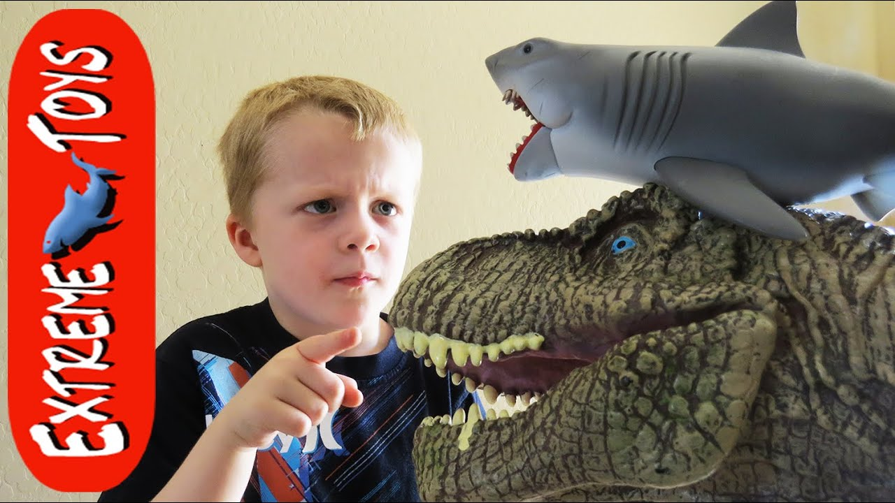 Megaladon Sharks Toys For Boys : Kitchen trouble jaws shark toy and t rex make a big
