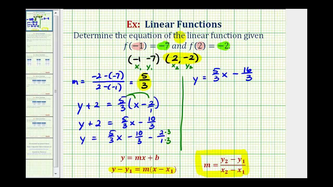 Ex: Find the Linear Function Given Two Function Values in Function Notation