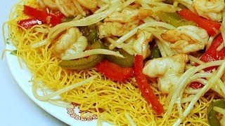Stir Fry : Shrimps with Pan Fried Noodle