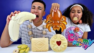 Famtastic Vlog 3: Real Food VS Gummy Food! Gross Giant Candy Challenge! Best Chef Mommy VS Daddy