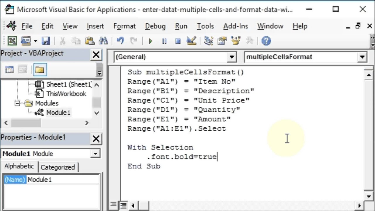 Enter Data And Format Multiple Excel Worksheet Cells With