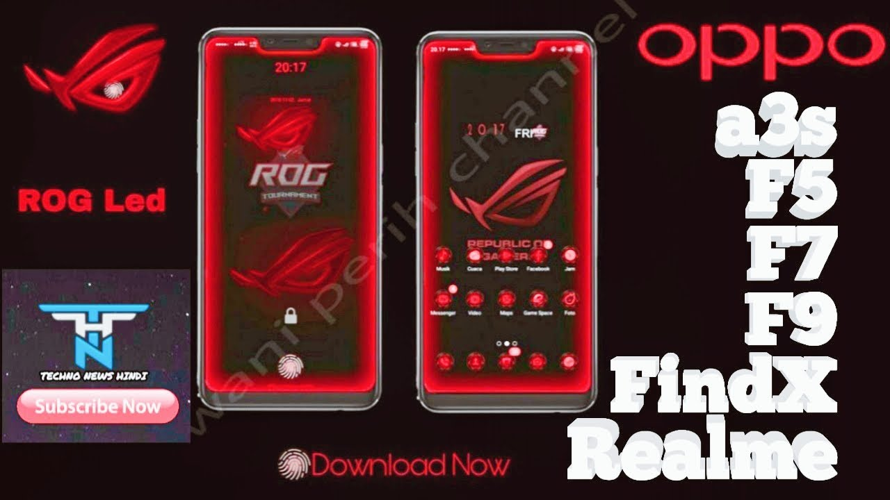 Oppo Coloros ROG theme for oppo , a3s , F5 , F7 , F9 , FindX , Realme,  Realme2