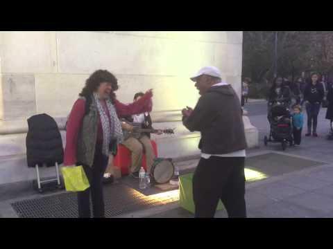Woman Randomly Walks Off the Street to Join Street Musicians