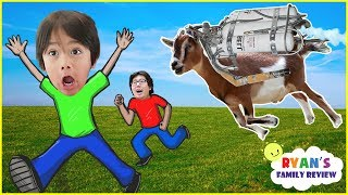 Let's Play Fun JetPack Goat Simulator with Ryan's Family Review!