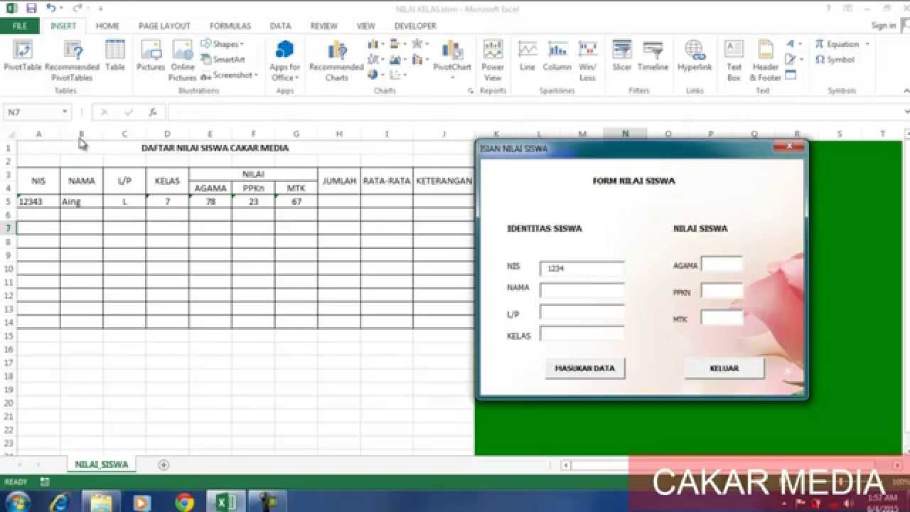 Membuat Aplikasi Form Sederhana Di Ms Excel 1 Youtube