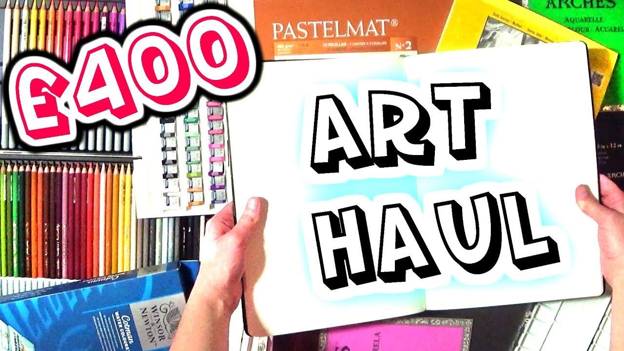 400 huge art supply haul sketchbooks watercolours pastel pencils