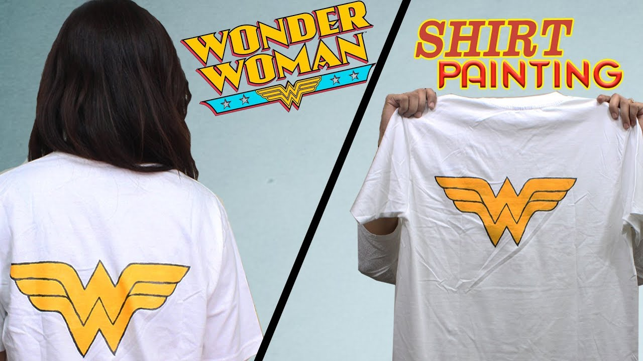 How to make wonder woman design in shirt painting do it yourself how to make wonder woman design in shirt painting do it yourself diy t shirt painting tutorial solutioingenieria Image collections
