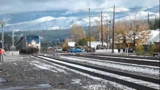 Amtrak California Zephyr arriving at Truckee California