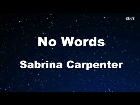 No Words - Sabrina Carpenter Karaoke 【No Guide Melody】 Instrumental