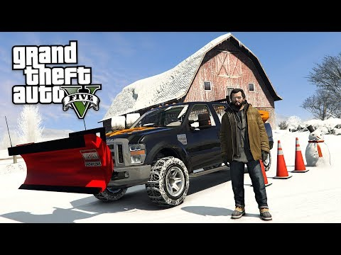 GTA 5 Real Life Mod #55 - DRIVING A SNOW PLOW TRUCK!! (GTA 5 Mods)