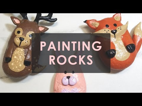 DIY PAINTED ROCK ART - WOODLAND CREATURES | ART DROP AROUND TOWN!