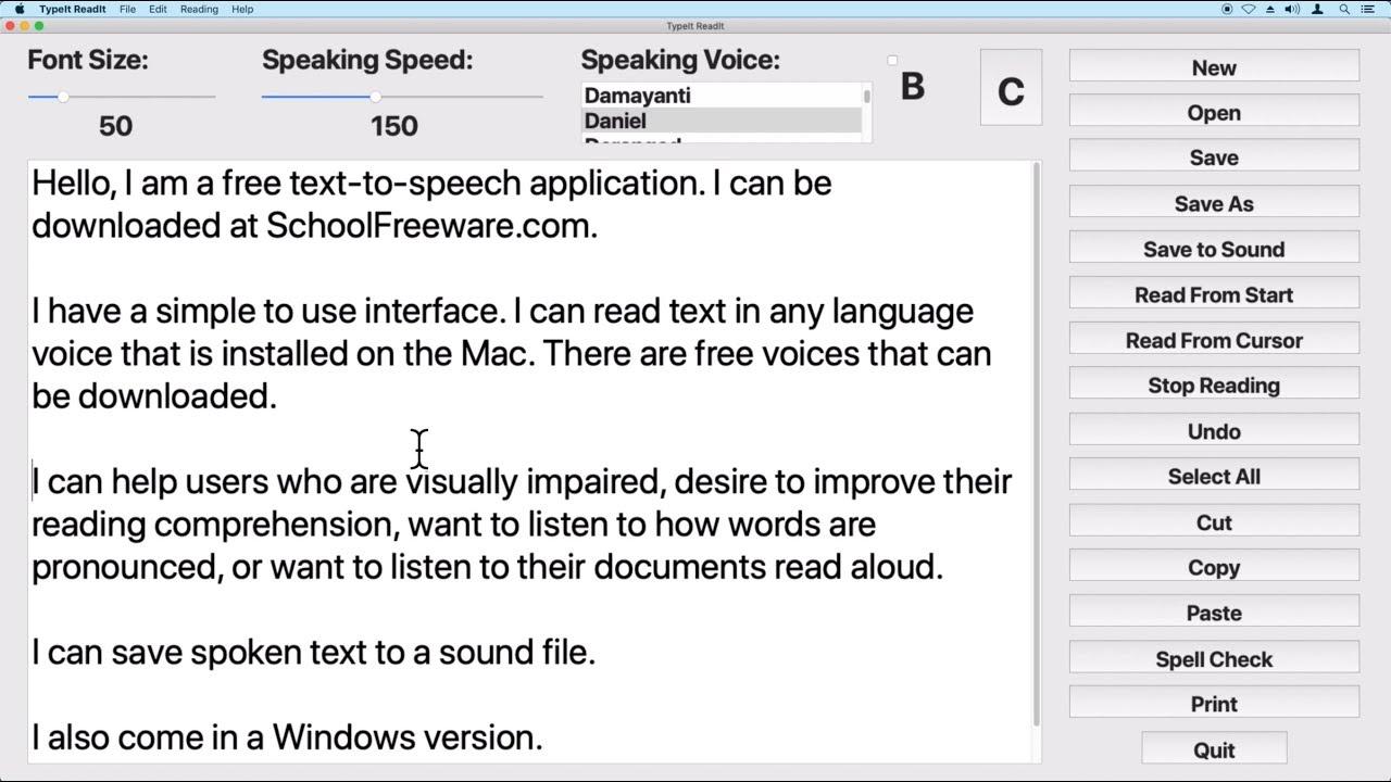 TypeIt Readit Download - Free Text to Speech Software for Windows