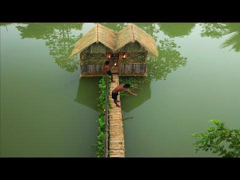 فيديو بناء منزل رائع في وسط البحيرة Bushmen Build The Most Beautiful Unique Villa On Water