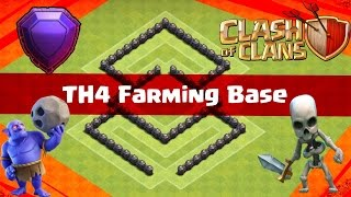 Clash of Clans   |AMAZING TH4 FARMING BASE |  GREAT RESOURCE PROTECTION!