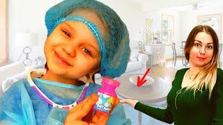 Алиса лечит маму от боли в животе